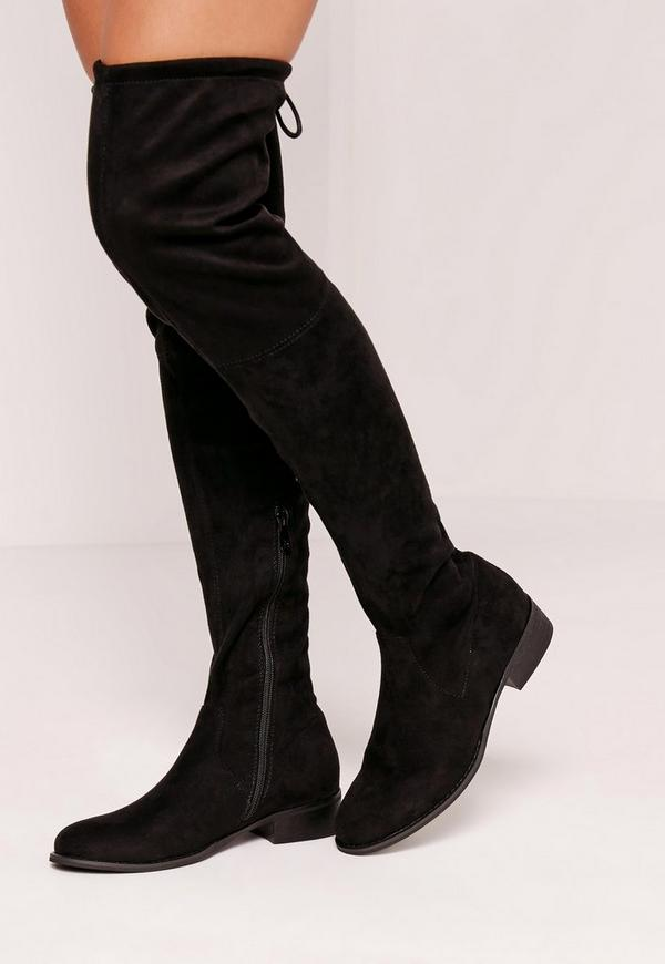 Black Flat Over The Knee Boots - Cr Boot