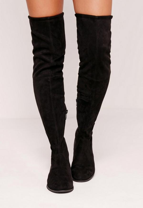 Flat Over The Knee Boots Black | Missguided