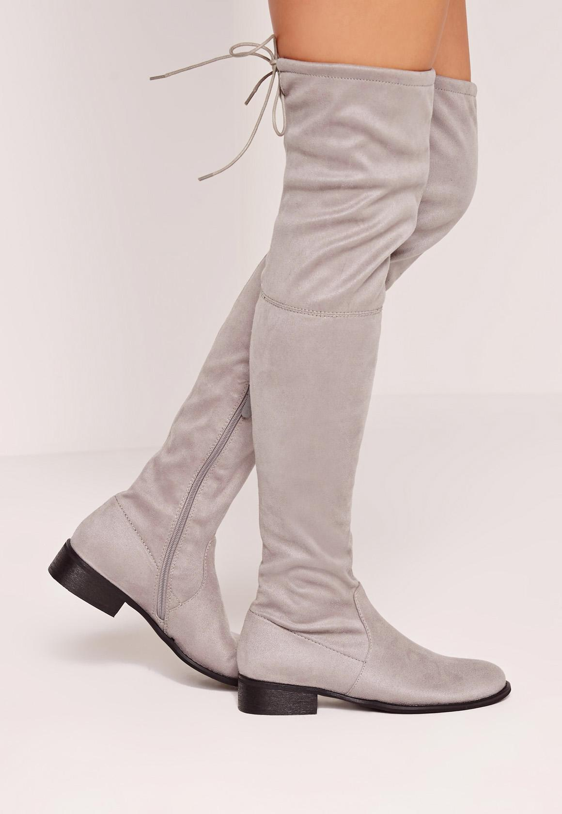 Flat Over The Knee Boots Grey - Missguided