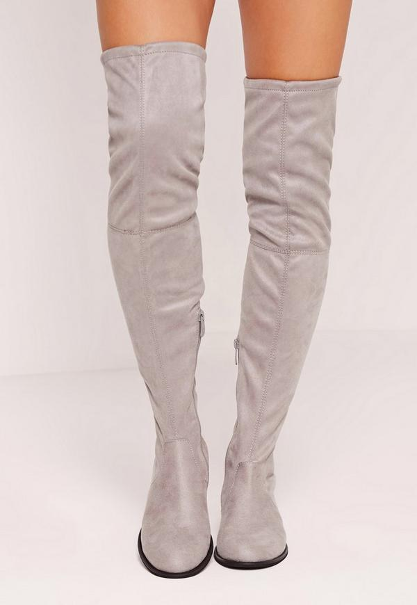 Flat Over The Knee Boots Grey | Missguided
