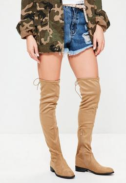 Nude Faux Suede Flat Over The Knee Boots