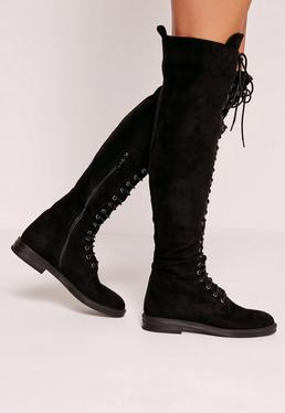 Flat Lace Up Over The Knee Boots Black
