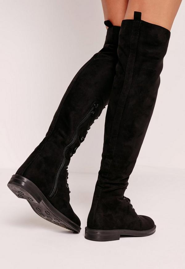 flat lace up the knee boots black missguided