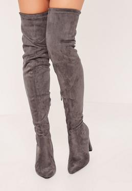 Grey Over The Knee Heeled Boots