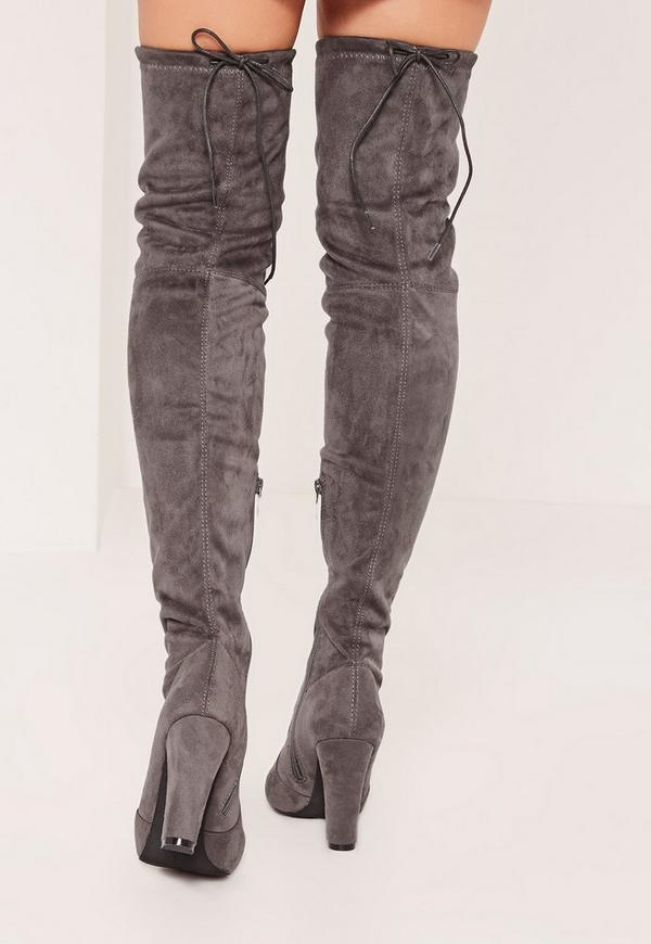 Grey Over The Knee Heeled Boots - Missguided