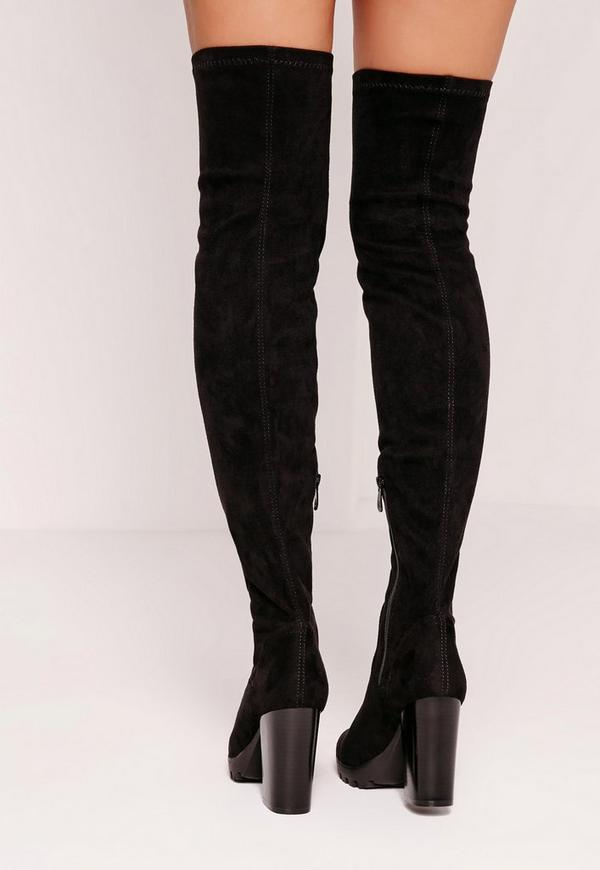 black faux suede cleated the knee heeled boots