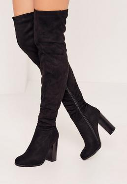 Black Rouched Over The Knee Boots