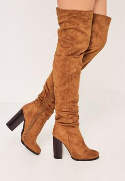 Tan Ruched Over The Knee Boots
