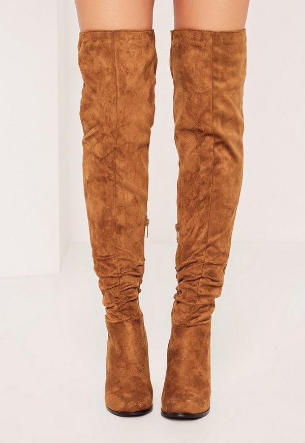 Tan Ruched Over The Knee Boots | Missguided