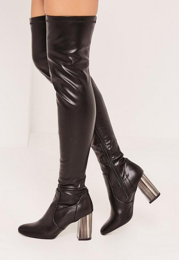 Black Bone Heel Over The Knee Boots