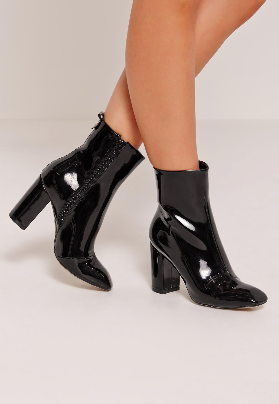 Patent Heeled Ankle Boots Black - Missguided