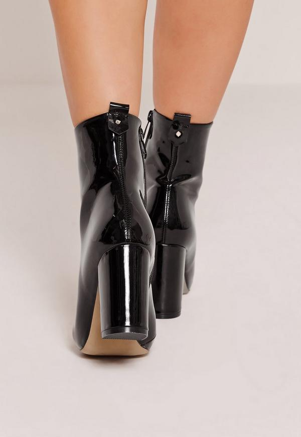 Patent Heeled Ankle Boots Black | Missguided