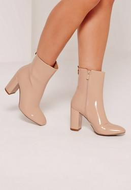 Patent Heeled Ankle Boots Nude
