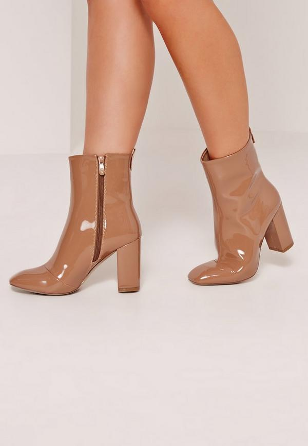 Patent Heeled Ankle Boots Tan