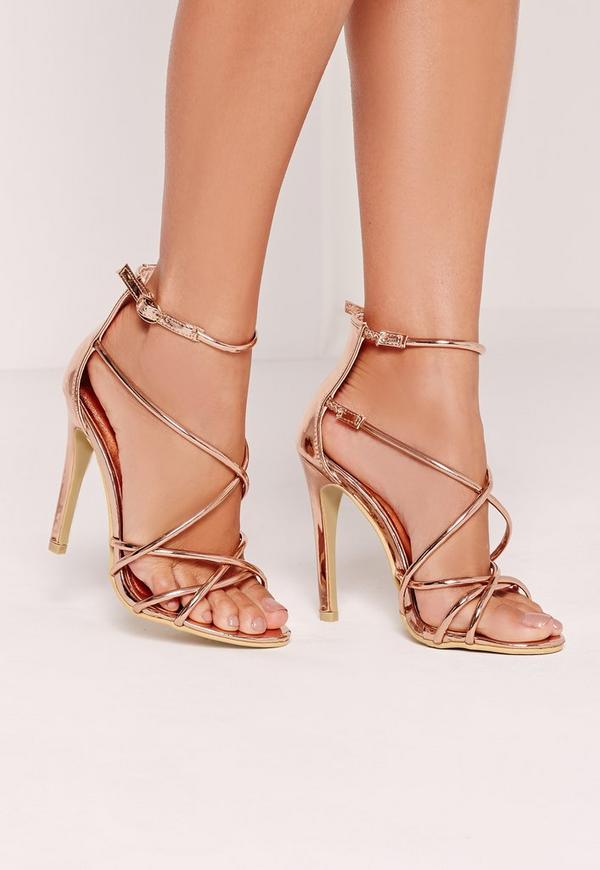 Strappy Barely There Heeled Sandals Rose Gold