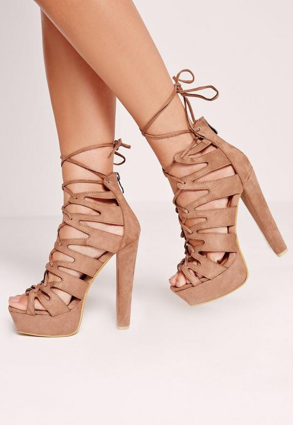 Laser Cut Platform Sandals Brown