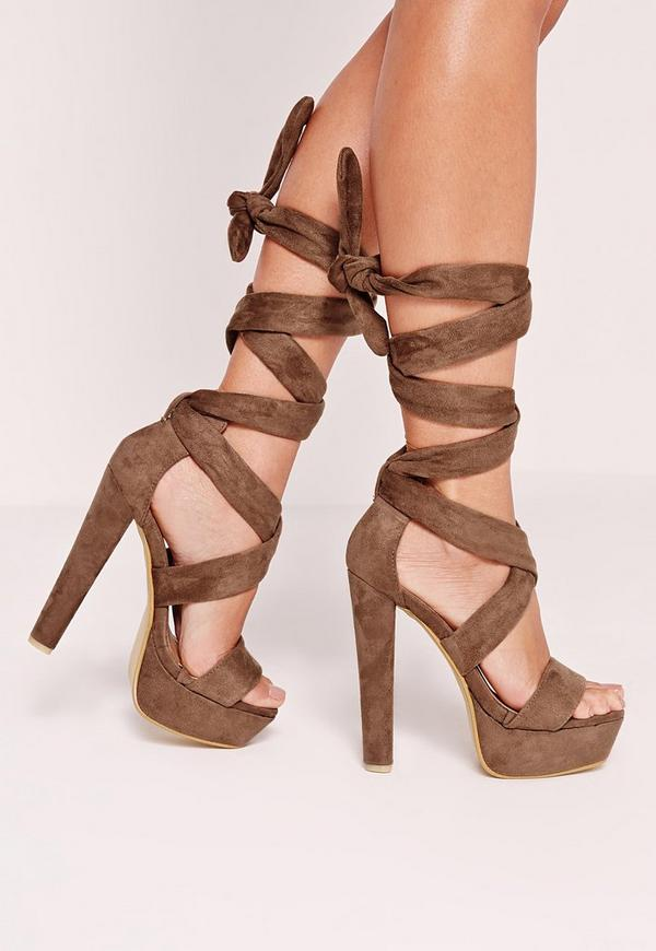 Wrap Around Platform Sandals Brown