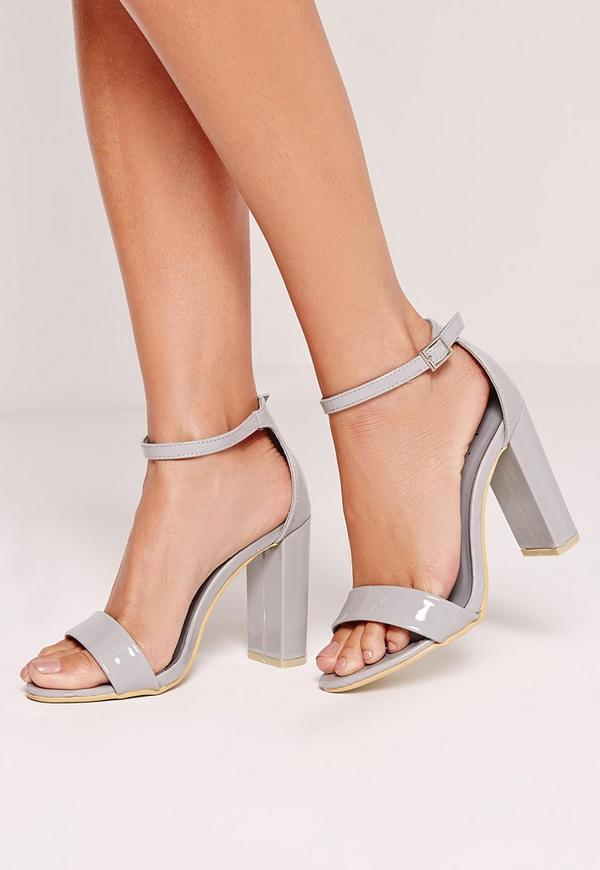 Block Heel Barely There Sandals Grey