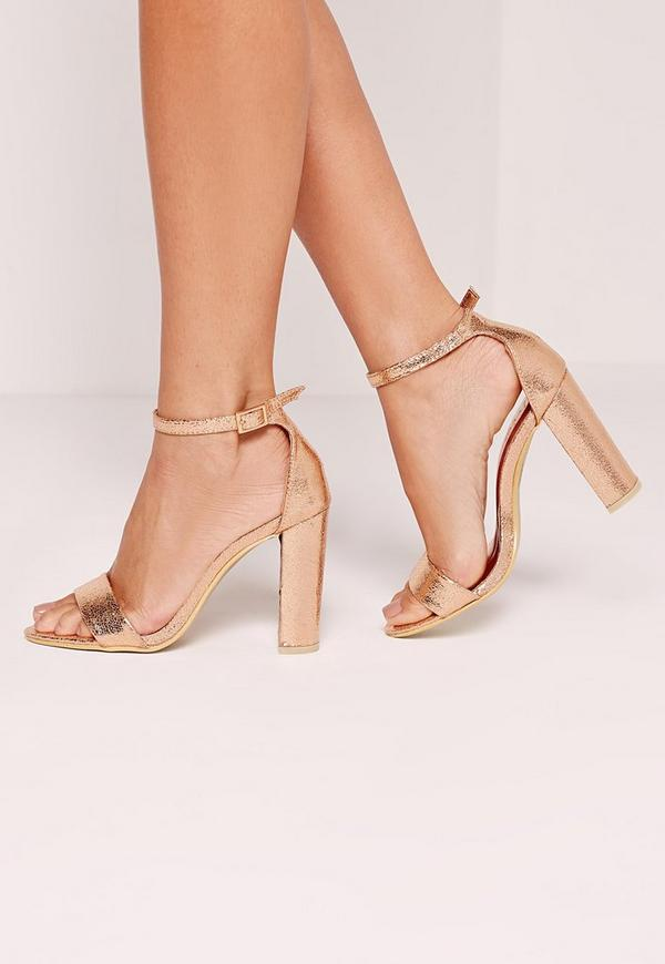 Block Heel Barely There Sandals Rose Gold Missguided