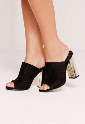 Gold Plated Block Heel Mule Black Missguided