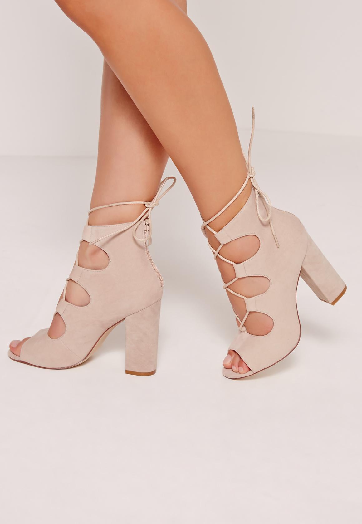 Lace Up Peep Toe Block Heels Nude