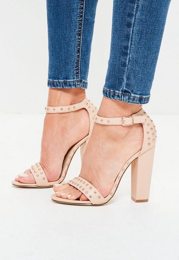 Studded Barely There Block Heeled Sandals Nude