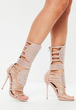 Peace + Love Pink Calf Heigh Embellished Sandals
