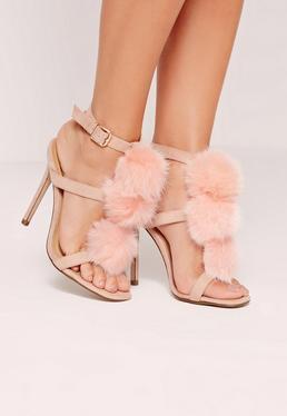 Pom Pom T Bar Heeled Sandals Pink
