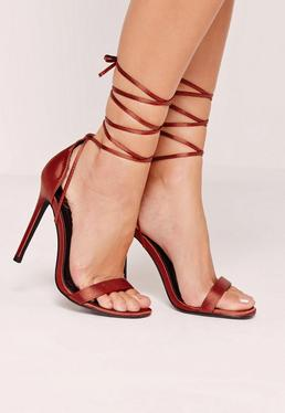 Lace Up Satin Barely There Heels Orange
