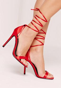 Lace Up Satin Barely There Heels Red