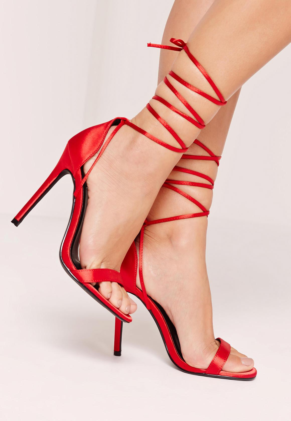Lace Up Satin Barely There Heels Red | Missguided