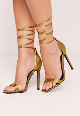 Lace Up Satin Barely There Heels Green