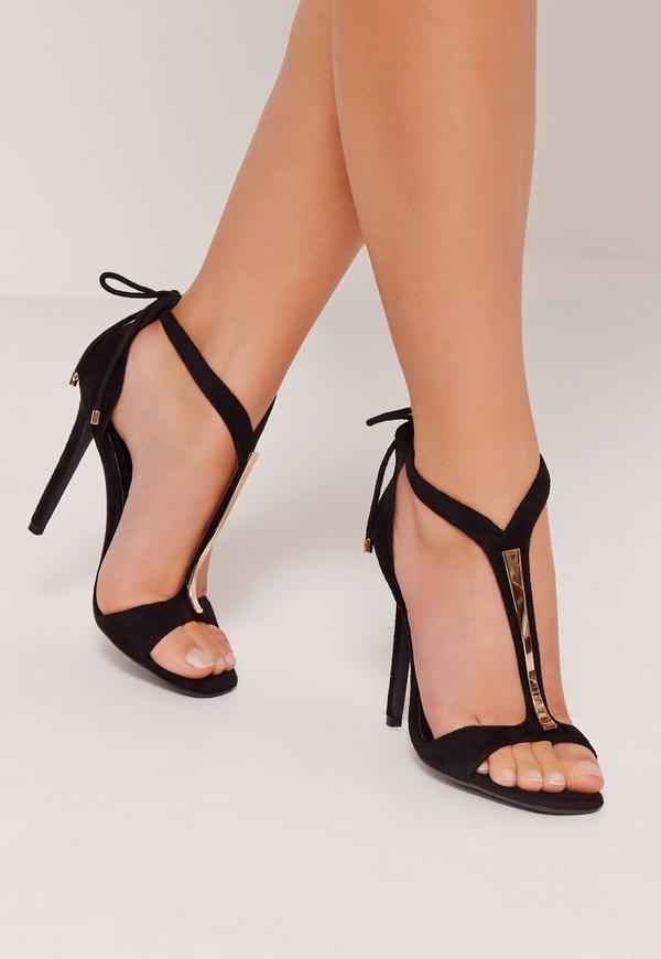 T Bar Heeled Sandals Black Previous Next