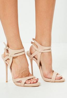 Sandalias de tacón minimalistas con dos tiras nude