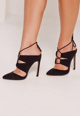 Black Lace Up Mule Pumps