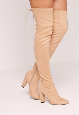 Nude Faux Suede Over The Knee Heeled Boots
