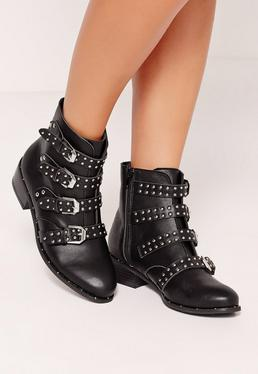Studded Buckle Ankle Boot Black