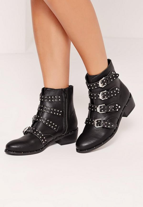 Studded Buckle Ankle Boot Black | Missguided
