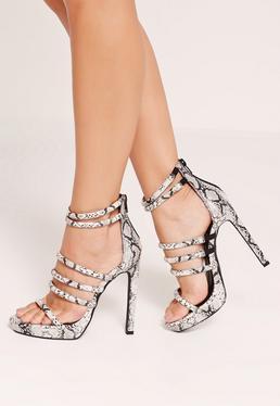 Snake Padded Strap Platform Sandal Heels Grey