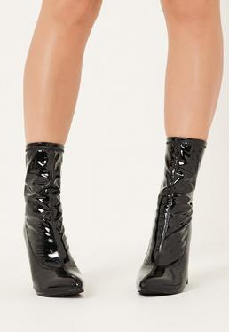 Black Patent Mid Calf Sock Boots