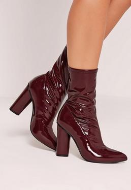 Patent Mid Calf Sock Boots Burgundy