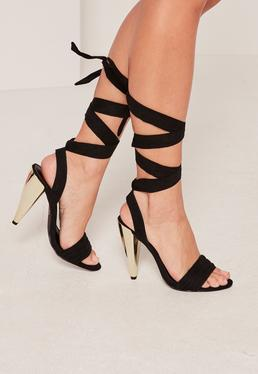 Black Cone Lace Up Heeled Sandals