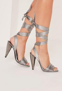 Cone Heel Lace Up Sandals Grey