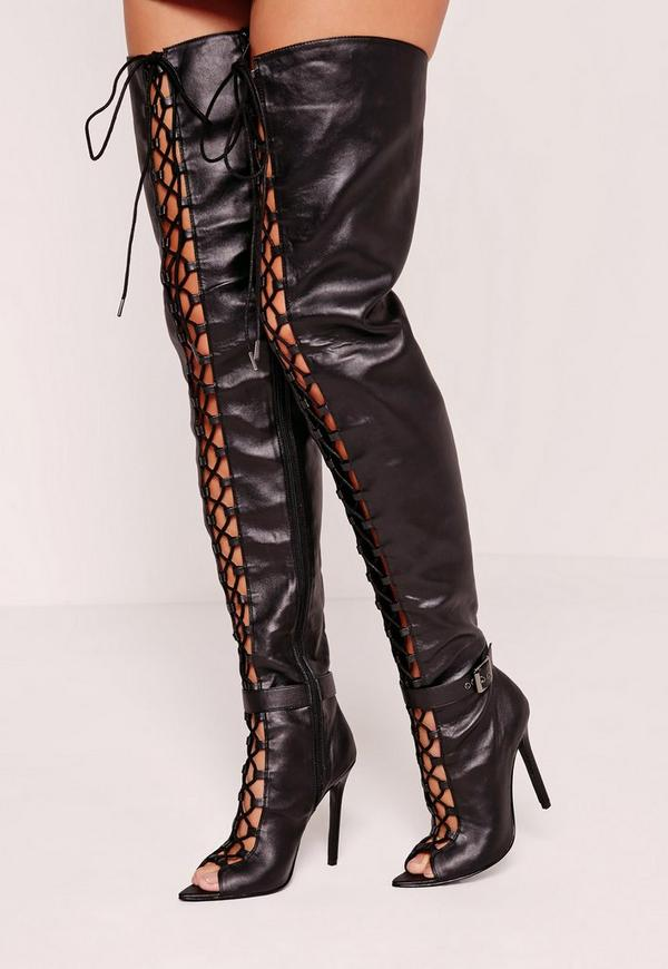 Lace Up Thigh High Gladiator Boot