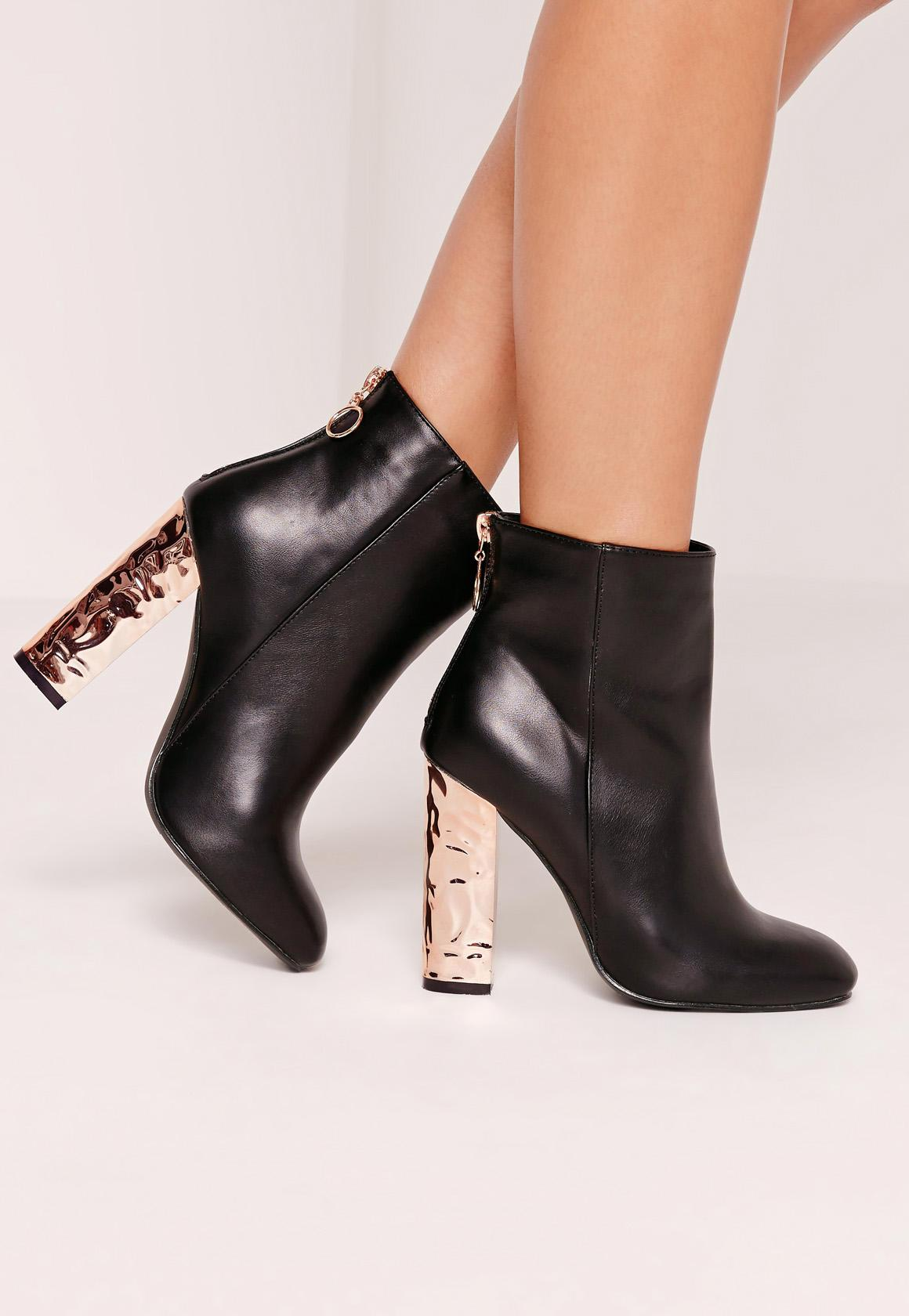 Black Contrast Zip Crushed Heeled Boots