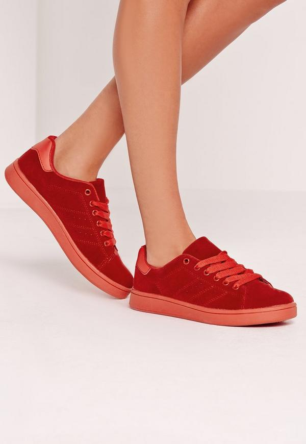 Faux Suede Lace Up Trainers Red