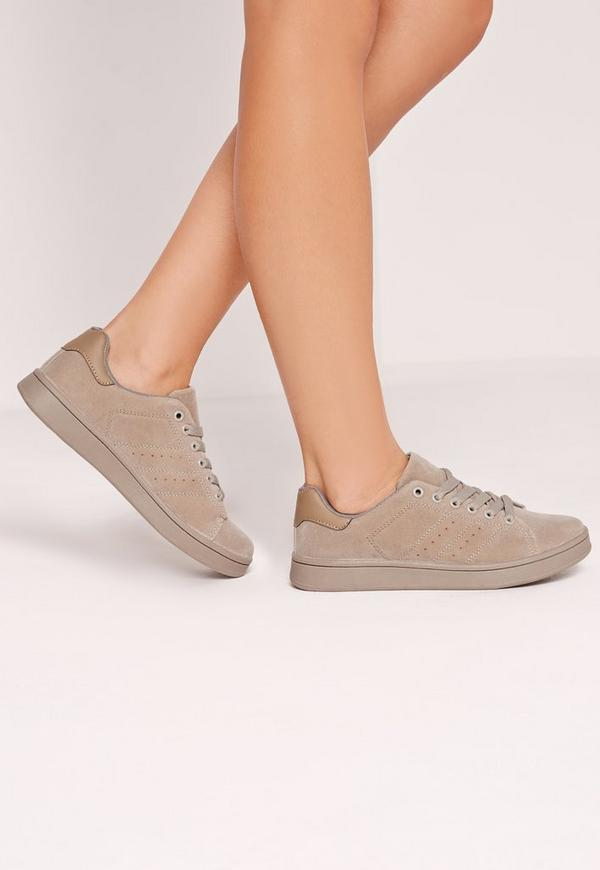 Faux Suede Lace Up Trainer Grey