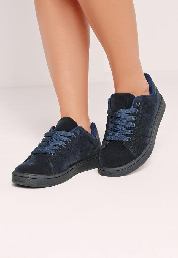 Faux Suede Lace Up Trainer Navy