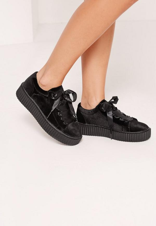 Satin Lace Up Velvet Flatforms Black