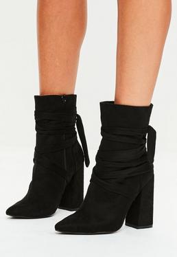 Schwarze Ankle Boots im Wickel-Look